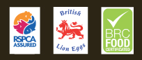 RSPCA Assured, British Lion Eggs and BRC Food Certified